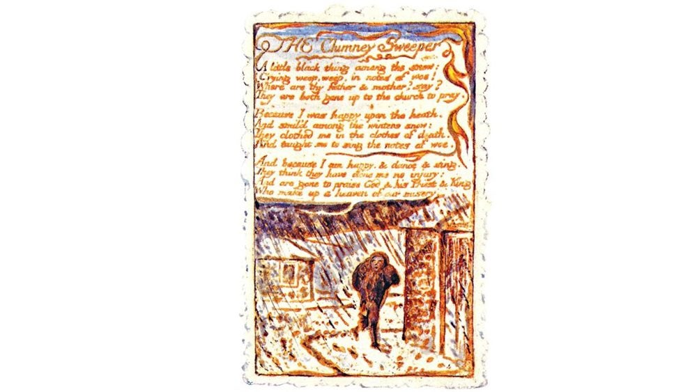Written copy of The Chimney Sweeper with illustration